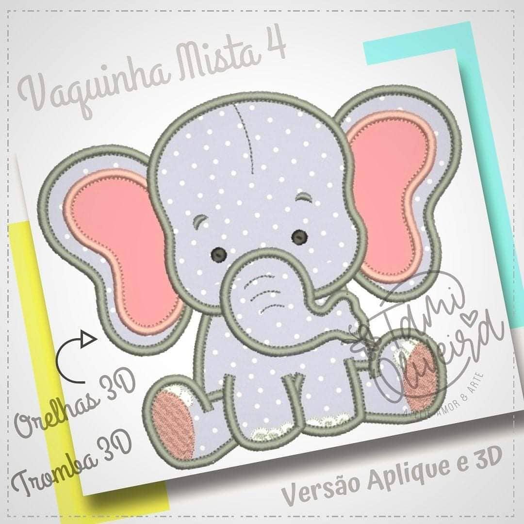 Matriz de bordado - Elefantinho 3D