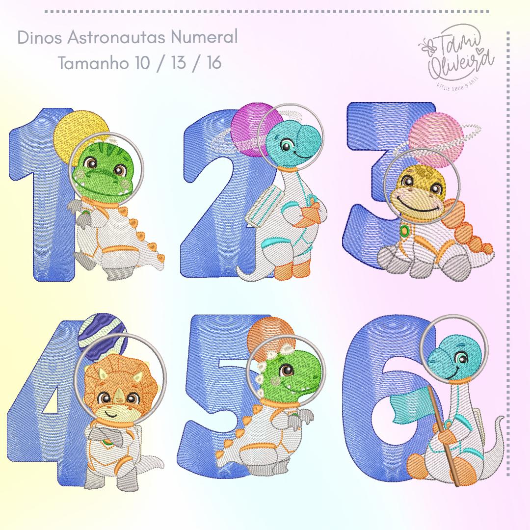 Matrizes de Bordado - Numeral Mesversário Dinos Astronautas